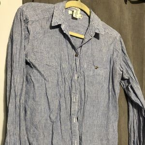Striped blue and white button up shirt M